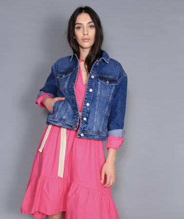 Jacheta jeans si rochie lunga.2