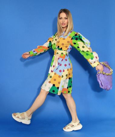 Rochie midi cu imprimeu colorat. [1]