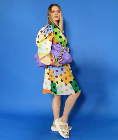 Rochie midi cu imprimeu colorat. [2]