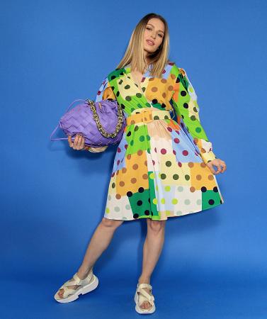 Rochie midi cu imprimeu colorat. [3]