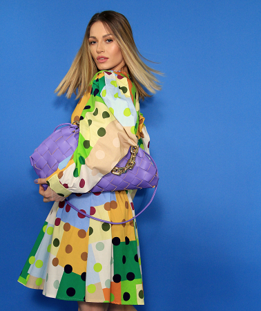 Rochie midi cu imprimeu colorat. [5]