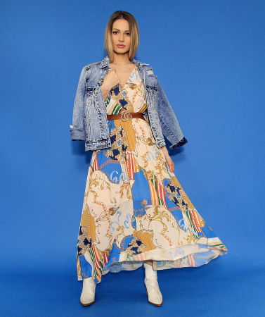 Jacheta din denim si rochie lunga.3