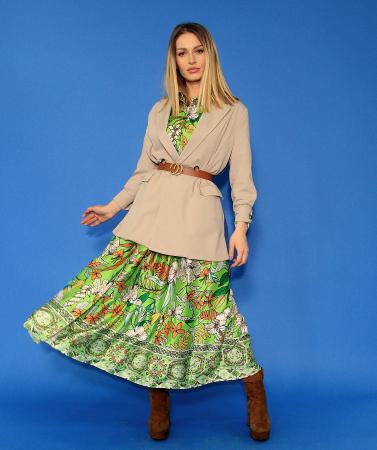 Rochie lunga cu imprimeu floral si sacou in doua culori. [0]