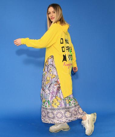 Hanorac cu gluga asimetric si rochie lunga imprimeu floral.1