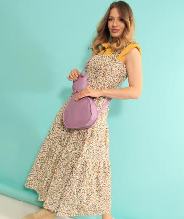 Rochie lunga cu bretele si geanta in forma de pisica. [3]