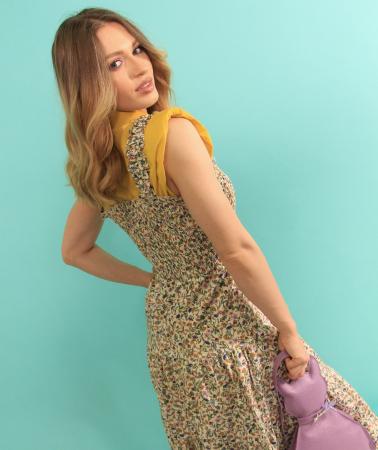 Rochie lunga cu bretele si geanta in forma de pisica. [5]