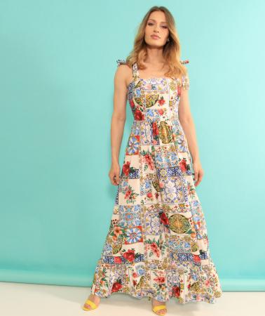 Rochie lunga imprimeu floral. [0]