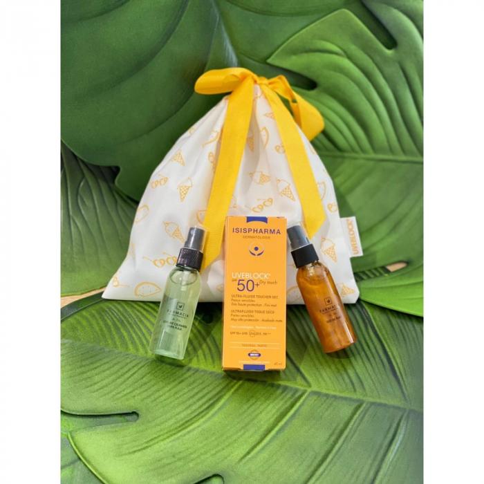 Pachet Uveblock SPF 50+ Dry Touch Isispharma, ulei de plaja pentru bronz sanatos si lotiune after sun calmanta [0]