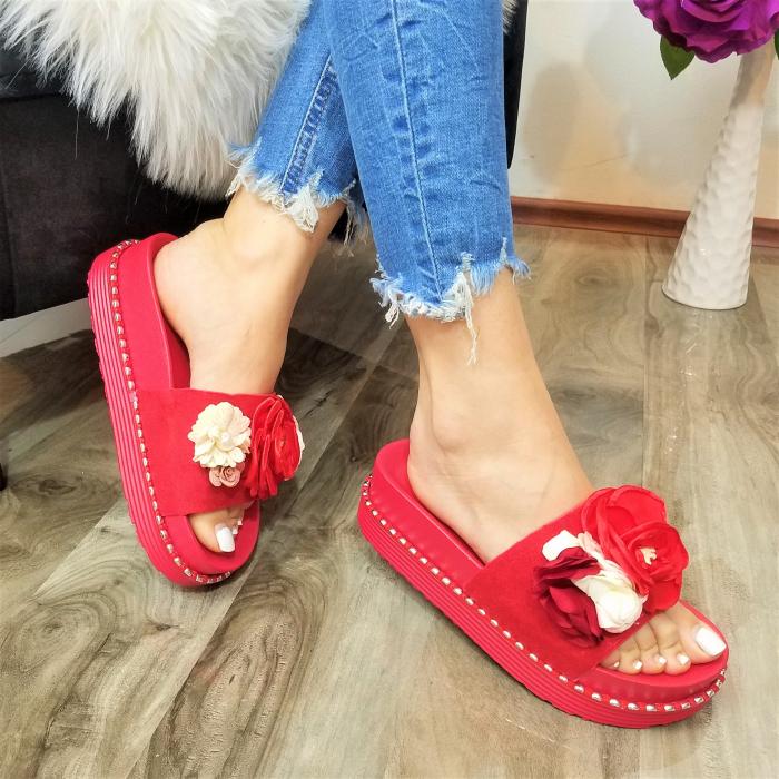 Incaltaminte Aisha Red- Papuci 0
