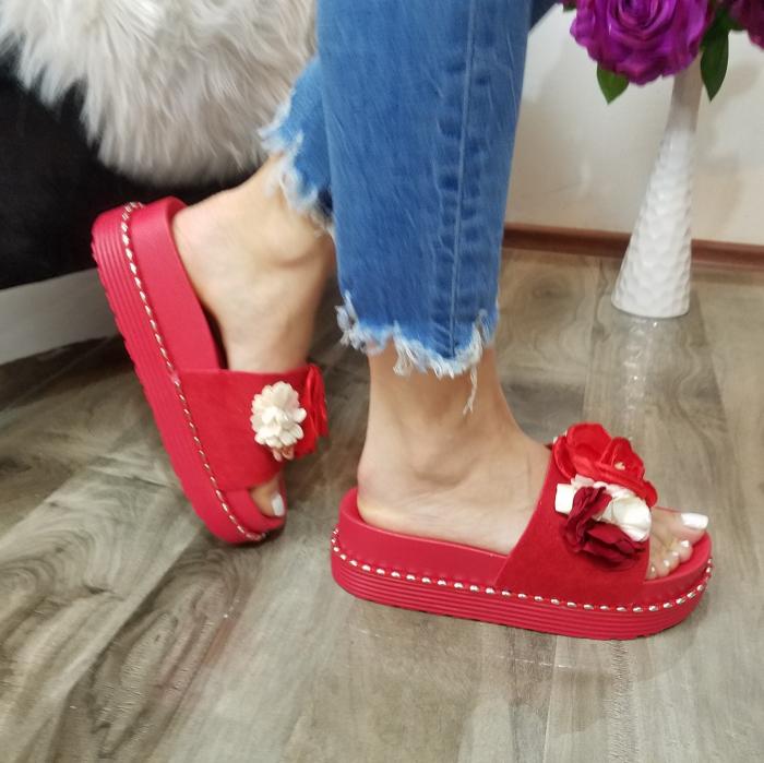 Incaltaminte Aisha Red- Papuci 1