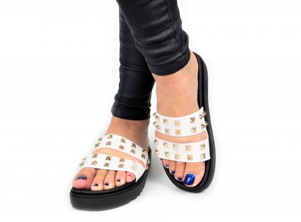 Incaltaminte White Slippers - Papuci 4