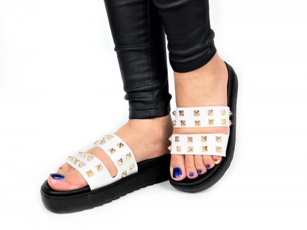 Incaltaminte White Slippers - Papuci 2