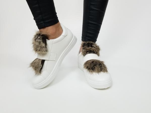 Incaltaminte White Furry - Pantofi Sport 3