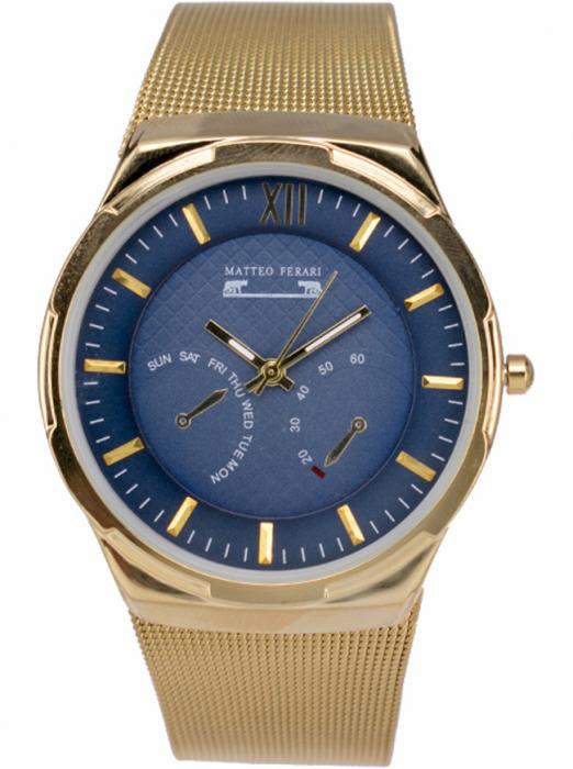 Ceas Barbatesc Matteo Ferari Gold/Blue Elegant IV [0]
