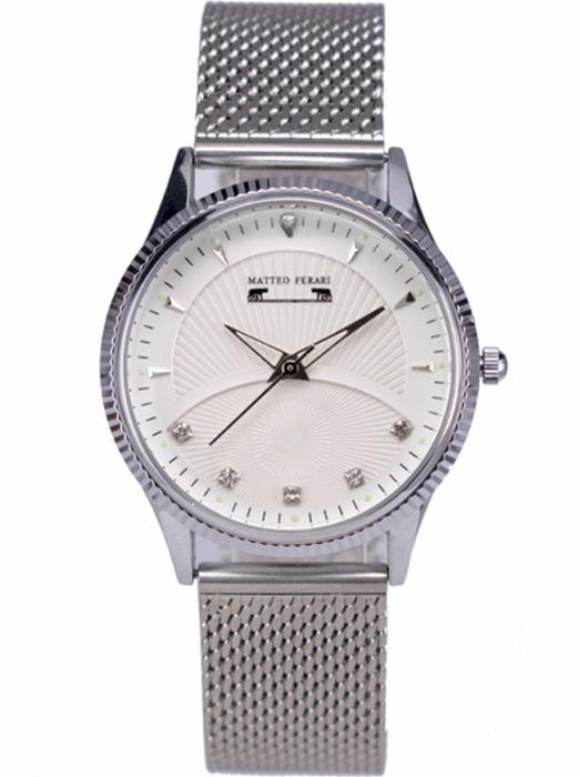 Ceas Dama Matteo Ferari Silver/White Elegant XVIII [0]
