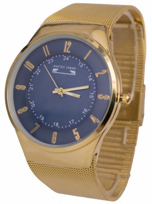 Ceas Unisex Matteo Ferari Gold/Blue Elegant I [1]
