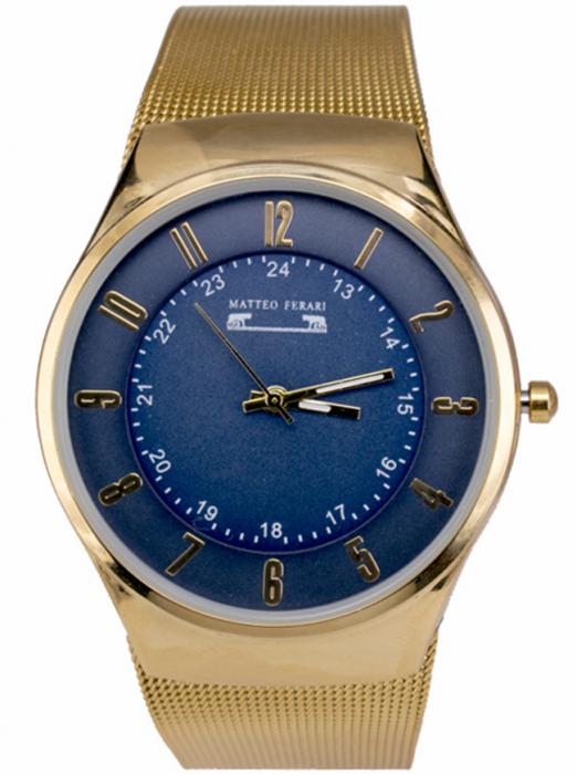Ceas Unisex Matteo Ferari Gold/Blue Elegant I [0]