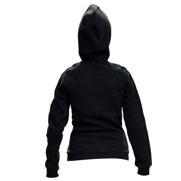 Hoody negru cu fermoar gri femei 1
