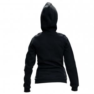 Hoody negru cu fermoar gri femei1