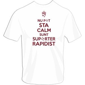 Tricou din bumbac, suporter Rapidist, alb