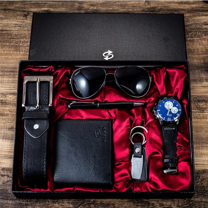 6 buc / set cadou pentru bărbați, ceas, ochelari, breloc, portofel, curea si pix [1]