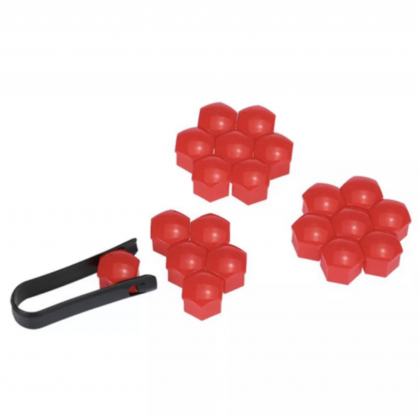 Set 20 capace prezoane de 17mm plus cheie de scos capacele, rosii 0