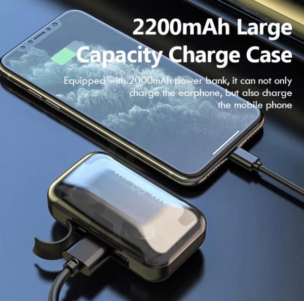 Casti Bluetooth V5.0 fara fir cu microfon 2200mAh 2