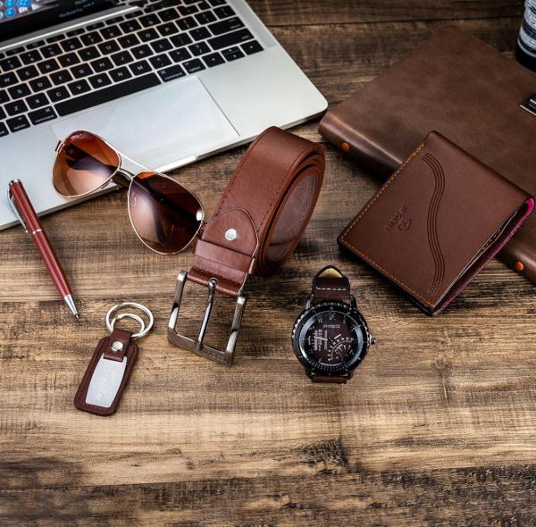 6 buc / set cadou pentru bărbați, ceas, ochelari, breloc, portofel, curea si pix 1