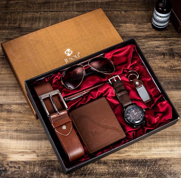 6 buc / set cadou pentru bărbați, ceas, ochelari, breloc, portofel, curea si pix 2