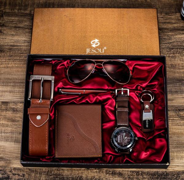 6 buc / set cadou pentru bărbați, ceas, ochelari, breloc, portofel, curea si pix 10