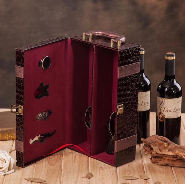 Ambalaj cadou piele de înaltă calitate geantă vin dublă 750ml pentru 2 sticle cu 4 piese 4