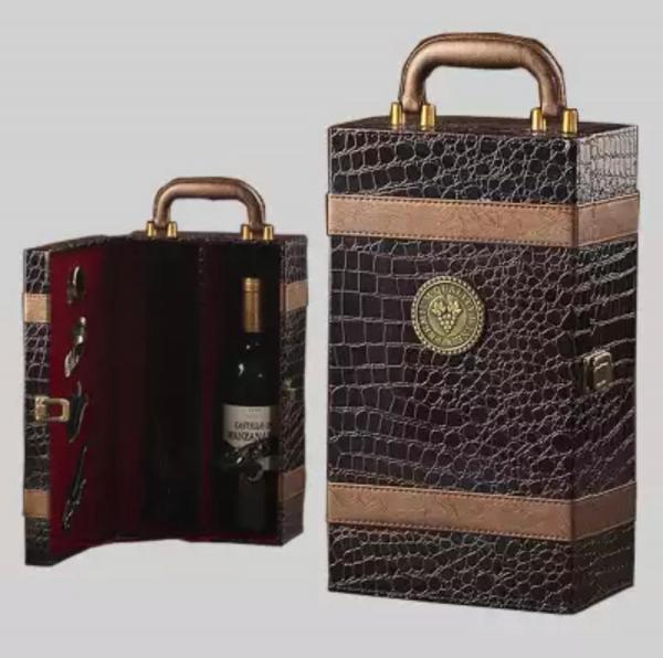 Ambalaj cadou piele de înaltă calitate geantă vin dublă 750ml pentru 2 sticle cu 4 piese 1