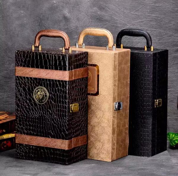 Ambalaj cadou piele de înaltă calitate geantă vin dublă 750ml pentru 2 sticle cu 4 piese 2