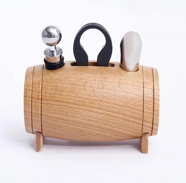 Set 4 piese din oțel inoxidabil de deschidere pentru sticle de vin cu suport tip butoi din lemn 4