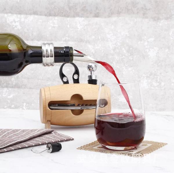 Set 4 piese din oțel inoxidabil de deschidere pentru sticle de vin cu suport tip butoi din lemn 2
