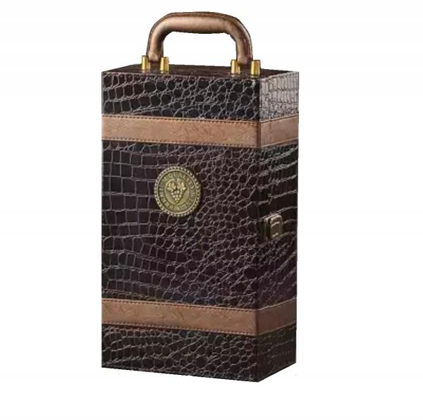 Ambalaj cadou piele de înaltă calitate geantă vin dublă 750ml pentru 2 sticle cu 4 piese 0