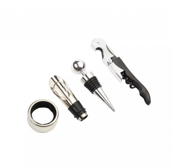 Set 4 buc accesorii pentru deschiderea sticlei de vin din oțel inoxidabil 8