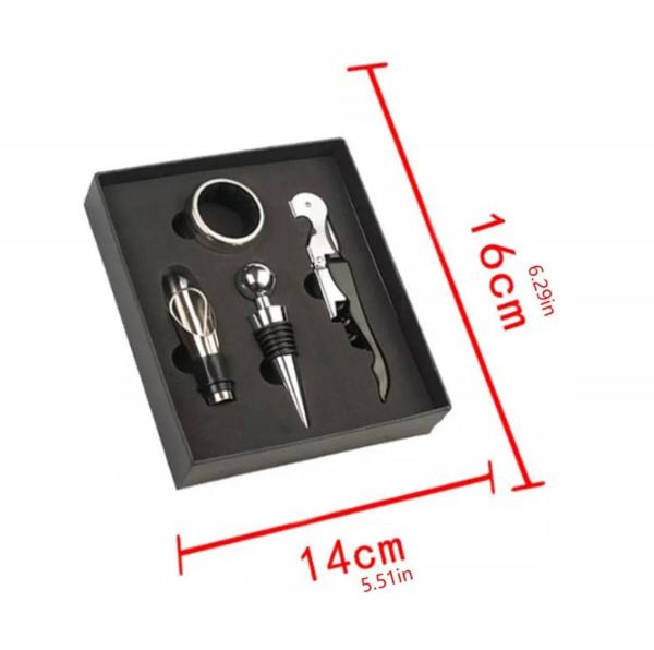 Set 4 buc accesorii pentru deschiderea sticlei de vin din oțel inoxidabil 7