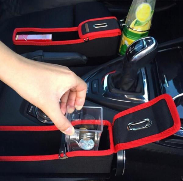 Cutie stocare auto cu usb, loc telefon, pusculita, suport pahar 6