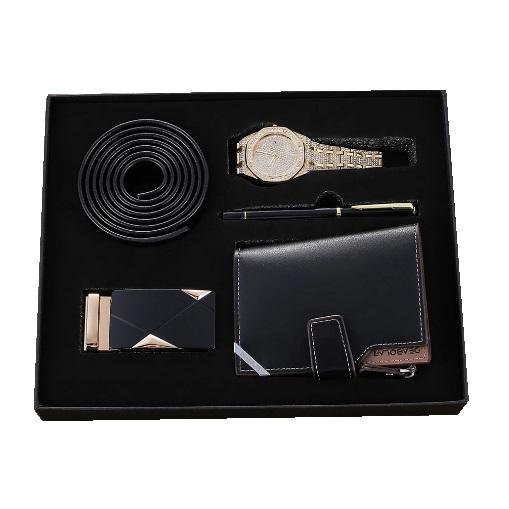 Set cadou pentru barbati 5 buc ceas luxury, curea de piele, catarama, portofel, pix [0]