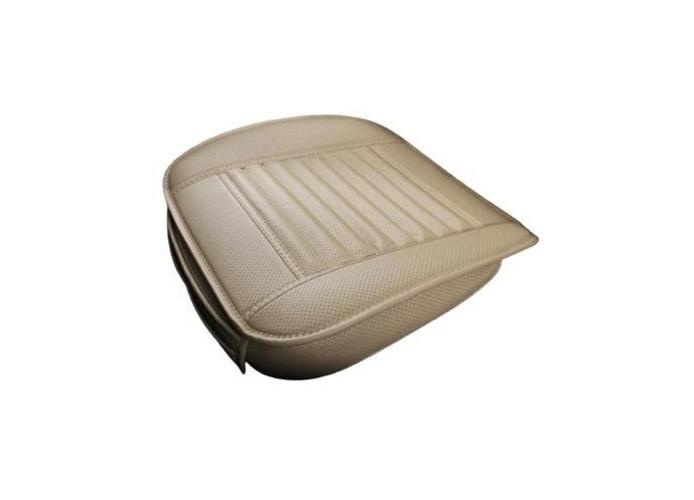 Husa scaun auto pentru sezut, scaune frontale universale, cu buzunar, piele ecologica crem [0]