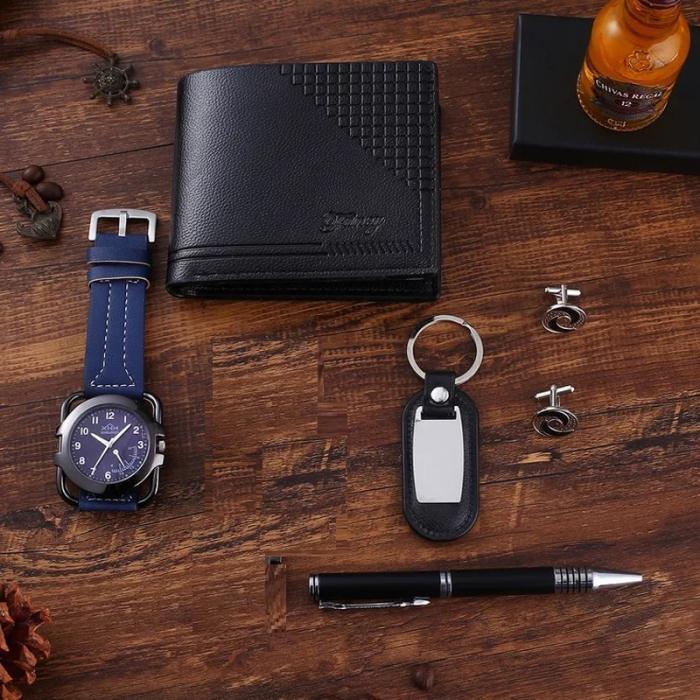 Set pentru barbati 6 buc ceas, portofel, pix, breloc, 2 butoni camasa, culoare negru [4]