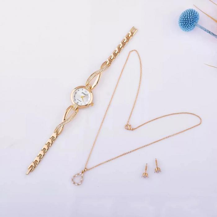 Set simplu 3 buc pentru femei ceas, doi cercei, colier, cutie roz [1]