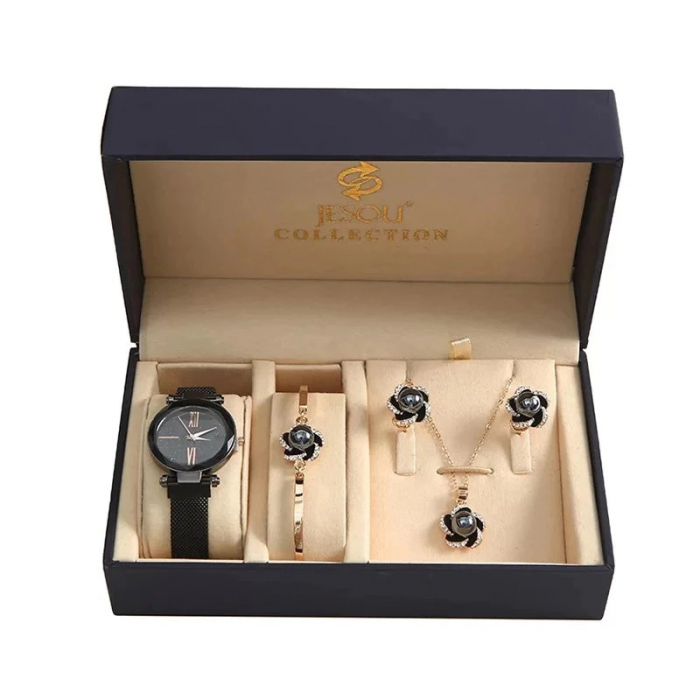 Set 5 buc pentru femei ceas, doi cercei, colier, bratara, culoare negru [0]