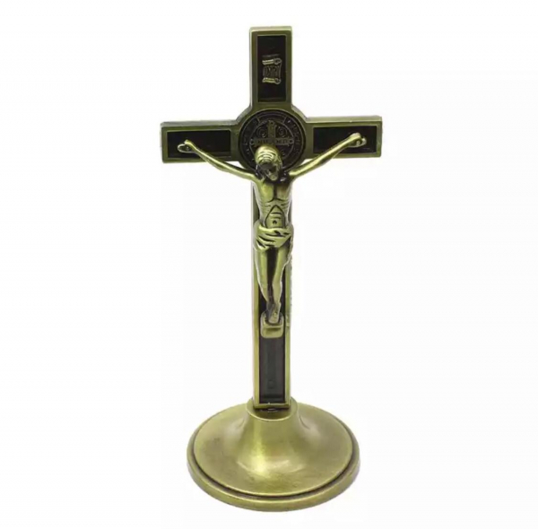 Ornament Iisus Crucifix Hristos Figurina din metal tip cruce 0