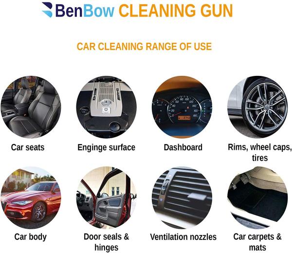 Pistol Premium, Dispozitiv de curatare interioare auto, Benbow 003 cu perie, 1000ml 6