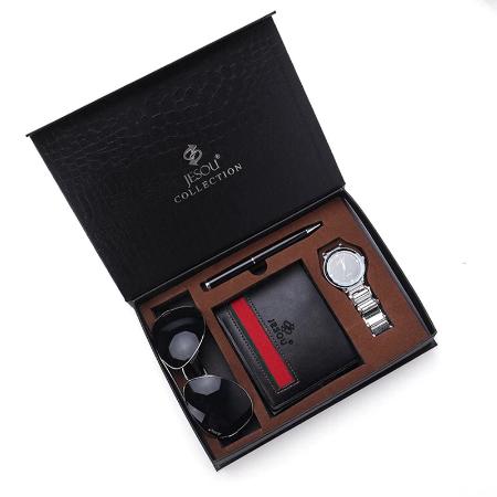 Set cadou pentru barbati 4 buc: ceas, portofel, pix, ochelari [0]