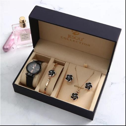 Set 5 buc pentru femei ceas, doi cercei, colier, bratara, culoare negru [5]