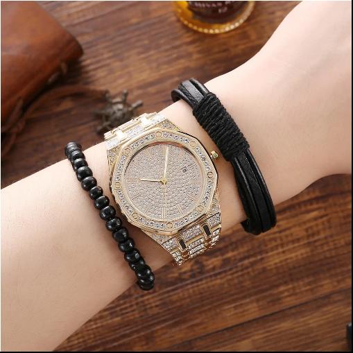 Set cadou pentru barbati 5 buc ceas luxury, curea de piele, catarama, portofel, pix [5]