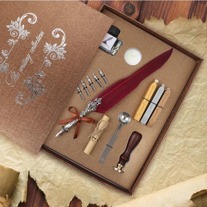 Set de cerneala de scris stilou cu pene, caligrafie vintage, sigilare cu ceara, stampila, birou, tip cadou [9]